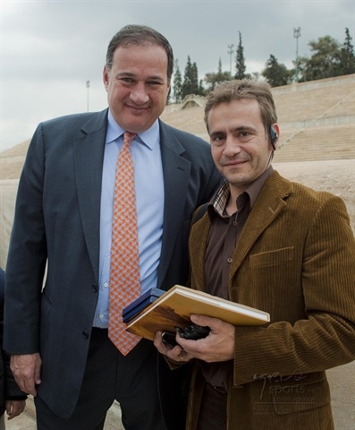 The President of HOC with the Olympic Gold Medallist Dimosthenis Tambakos